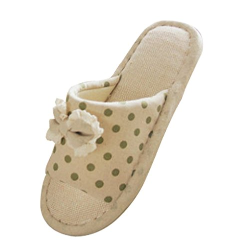 Cattior Womens Bow Flax Cute Slippers House Slippers (9, ...