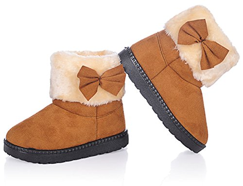 (DADAWEN Baby's Girl's Toddler Fashion Cute Bowknot Fur Lining Princess Warm Snow Boots Brown US Size 11.5 M Little)