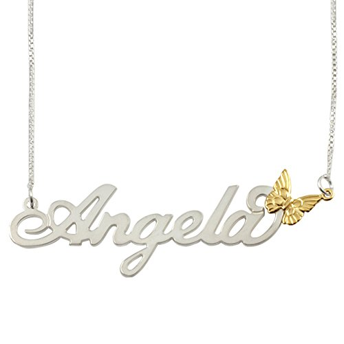 Sterling Silver Personalized Name Necklace with 14k Gold flower - Custom Made Any Name