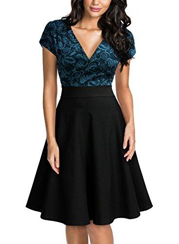 Miusol Women's Deep V-Neck Elegant Floral Lace Contrast Cocktail Party Dress (Medium, Cyan)