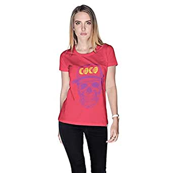Creo Violet Yellow Coco Skull T-Shirt For Women - M, Pink