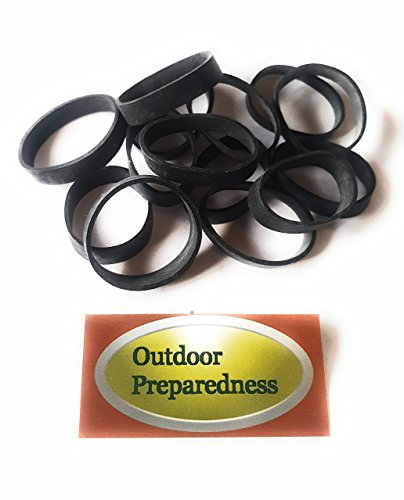 Outdoor Preparedness Survival Thick Heavy Duty Black Tactical Rubber Bands 20 Pcs EPDM Rubber UV Resistant for, Military, Camping, Hiking, Backpacks, Survival, Airsoft, Paintball Made in USA.