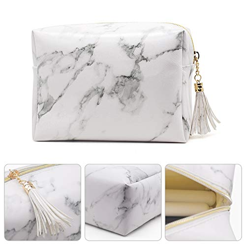 8b00447c9970 Joyful High Capacity Marble Pattern Cosmetic Bag Makeup Brushes Kit ...