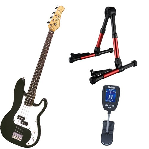 (It's All About the Bass Pack-Black Kay Electric Bass Guitar Medium Scale w/Meisel COM-90 Tuner & Meisel Red Stand)