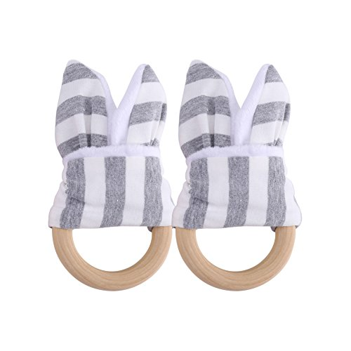 - 2Pcs Natural Wooden Teether Rings Bunny Ear Organic Baby Teething Toy Eco-Friendly Wood Teething Holder Nursing Soothing Toy for Baby Gift