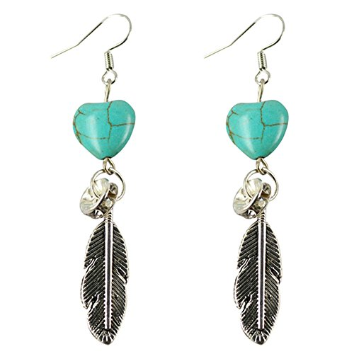 Afco Boho Antique Women Turquoise Love Heart Carved Feather Dangle Hook Earrings Party Jewelry Silver ()