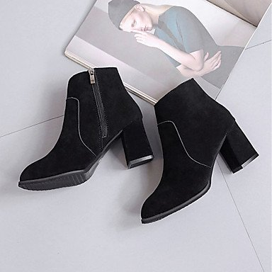 Synthetic Boots UK3 EU36 Boots Pu Microfiber CN35 Shoes Toe Heel Pointed Calf Winter Fashion 5 Boots Leatherette Comfort US5 Mid Women'S RTRY Pu Chunky Flocking 5 FwqHnBFAt