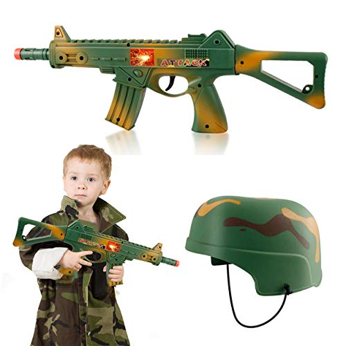 Camouflage Army Helmet and 16 inches Machine Gun Toy Rifle Military Combat Playset for -