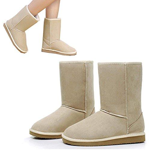 Eshion Unisex Hiver Femmes Filles Ladys Mi-mollet Chaud Neige Bottes Chaussures Beige