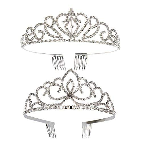ANBALA Wedding Tiara Rhinestones Crown, 2 Pack Bling Silver Plated Rhinestone Bridal Headband Princess Crown Hair Accessories for Women