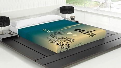 TSUKI Sábanas OSOKU cama motivo orintal japones/Zen Chillout (Cama 180)