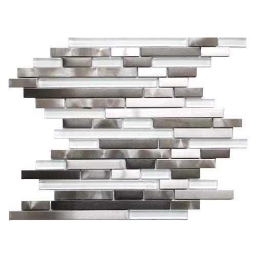 Modern Random Mix Steel - Glass II/Stainless Steel and Glass Mixed Metal Tile - Kitchen Backsplash/Bathroom Wall/Home Decor/Fireplace Surround