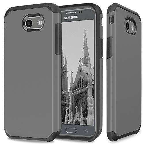 TJS Samsung Galaxy J7 Sky Pro/Galaxy J7 Perx/Galaxy J7 V/Galaxy Halo/Galaxy J7 Prime Case, Dual Layer Hybrid Shockproof Impact Drop Protection Case Armor Cover (Grey)