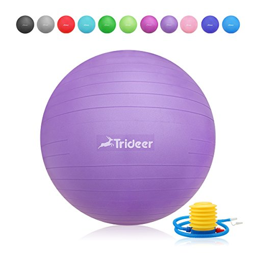 Exercise Ball (45-85cm) Yoga Ball Chair, Anti-Burst & Extra Thick Heavy Duty Stability Ball Supports 2200lbs, Birthing Ball with Quick Pump (Office and Home) (Purple, 55cm)