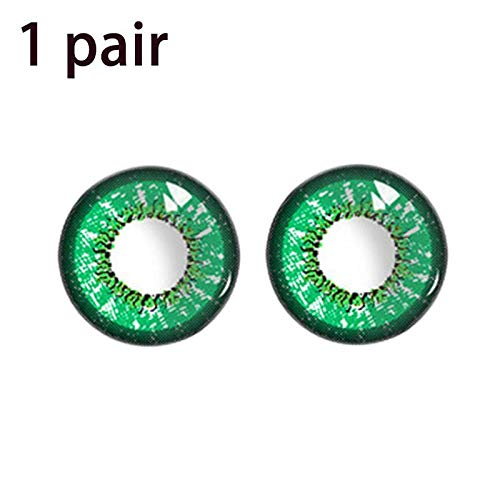Cosplay Contact Lenses - Women Multi-Color Contact Lenses Cosplay Eyes Cute Colored Charm and Attractive Cosmetic Makeup Eye Shadow (Green) -