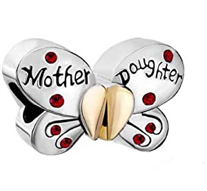 Pugster Separable Butterfly Mother Daughter Charm Beads Fit Pandora Bracelet
