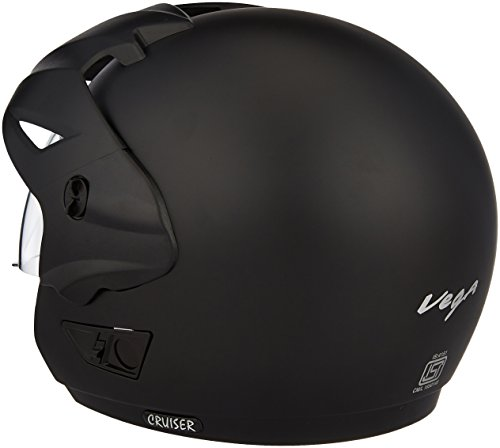 Vega Cruiser CR-W/P-DK-M Open Face Helmet with Peak (Dull Black, M) 4