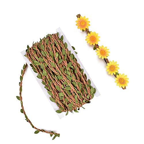huianer Leaf Trim Ribbon 5MM with Artificial Green Leaves, 65 Feet Braided Decorated Vine for Wedding, Gift Wrapping, DIY Headband Wreath Crown Flower Accessories(Brown)