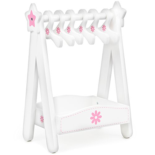 "Classic Wooden Doll Dress Rack with 6 Hangers, Compatible with 18"" Brand Name Doll Accessories by Imagination Generation (House Armoire)"