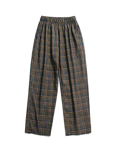 Eclection Boutique Men's Checked Pants, Multi-Colour Checked Elastic Waistband Trousers