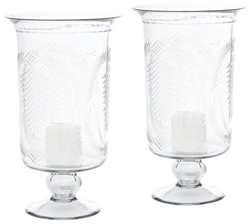 Go Home Pair of Etched Hurricanes Holder, Tall