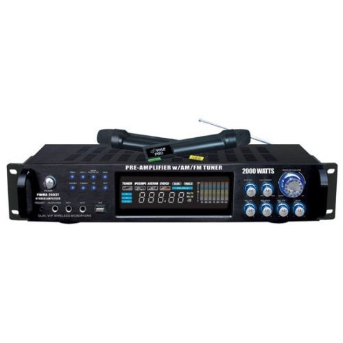 Pyle 4 Channel Home Audio Power Amplifier - 1000 Watt Stereo Receiver w/ Speaker Selector, AM FM Radio, USB, Headphone, 2 Wireless Mics for Karaoke, Great for Home Entertainment System - PWMA1003T by Pyle