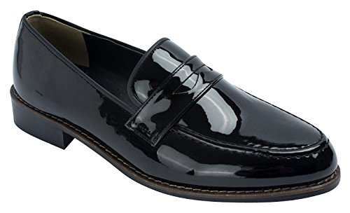 Patent Moc (Mens Classic Patent Moc Toe Penny Loafer Slip-ons Black Brown,Black,US 10,B(M))