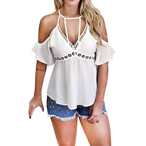 (Sunhusing Women's Solid Color V-Neck Off-Shoulder Short-Sleeve Openwork Lace Embellished T-Shirt Top White)