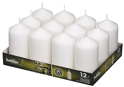 BOLSIUS Set of Wedding Pillar Candles White 12Pk. 128 for sale  Delivered anywhere in Canada