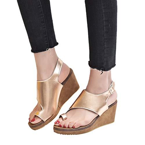 Veodhekai Women High Heeled Platform Sandals Buckle Strap Wedge Shoes Roman Sandals Peep-Toe High Bottom Beach Gold