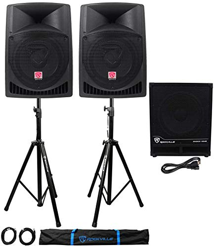 (2) Rockville RPG12 12' Powered PA Speakers+Active 15' Subwoofer+Stands+Cables