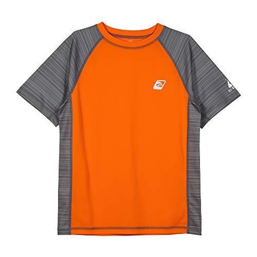 LAGUNA Boys Striped Raglan Crewneck Short Sleeve Loose Fit Rashguard Swim Sun Tee Shirt, UPF 50+, Orange/Grey Stripe, 18/20