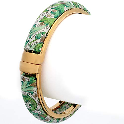 Stauer Women's Florentina Bangle with Gold Finish Setting (Green)
