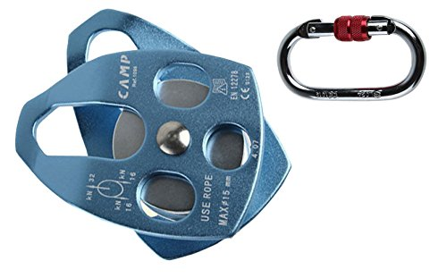 30KN Small Mobile Pulley Lightweight Aluminum Rock Climbing Pulley Outdoor Rescue Lifting Rigging Rock Climbing Mobile Pulley with Climbing Mountaineering Buckle Carabiner (Blue)