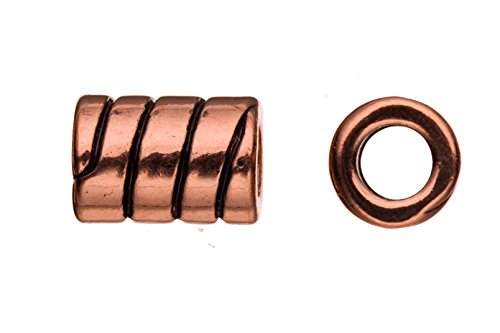 Leather component beads, antique brass-plated, candy spiral patterned tube slider beads -