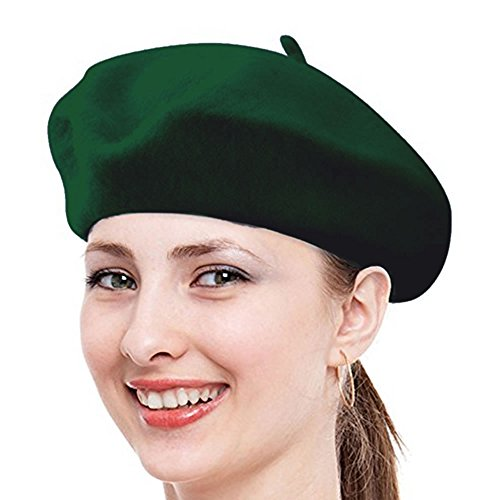 2016 Costume Ideas Hippie (Classic French Beret, FuzzyGreen Hunter Green Solid Color French Wool Beret - 2016)