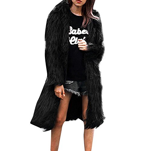 (Faionny Womens Hooded Cardigan Coat Warm Parka Solid Long Trench Coat Faux Fur Soft Windbreaker Round Collar)