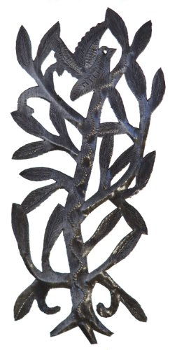 Le Primitif Galleries Haitian Recycled Steel Oil Drum Outdoor Decor, 12.5 by 6-Inch, Vertical Birds in Tree No. 4
