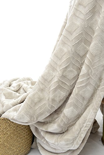 long rich HappyCare Textiles HCT BKT-001 Ultrasoft Diamond Pattern Embossed Micro Velvet Comforter and Blanket, 108