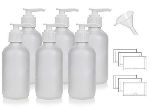 4 oz / 120 ml Frosted Clear Glass Boston Round Bottle with White Lotion Pump (6 Pack) + Funnel and Labels