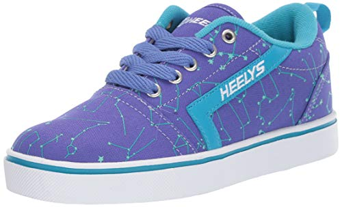 Heelys Girls' GR8 Pro Prints Tennis Shoe, Blue IRIS/Cyan/Constellations, 13c M US Big Kid