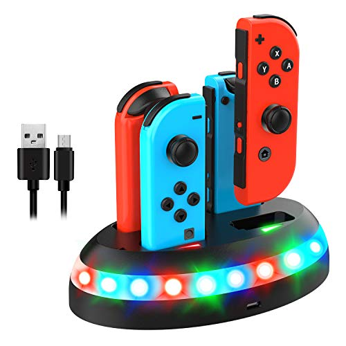 Joy-Con Charging Station for Nintendo Switch,Gintenco 4 in 1 Switch Controller Charging Dock Fast Charging Switch Station Stand with RGB Indicator Lights Type-C USB Included