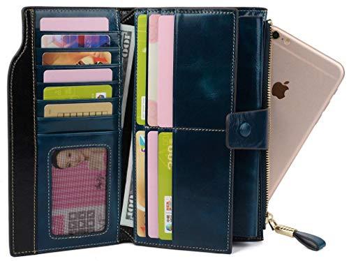 YALUXE Women's Wax Genuine Leather RFID Blocking Clutch Wallet Wallets for Women Blue by YALUXE (Image #3)