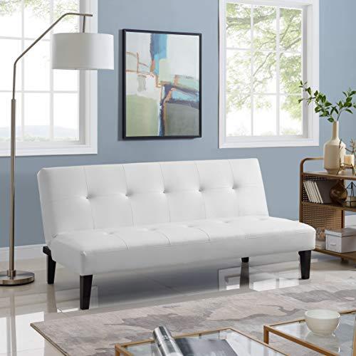 Naomi Home Button Tufted Futon Sofa Bed White ()