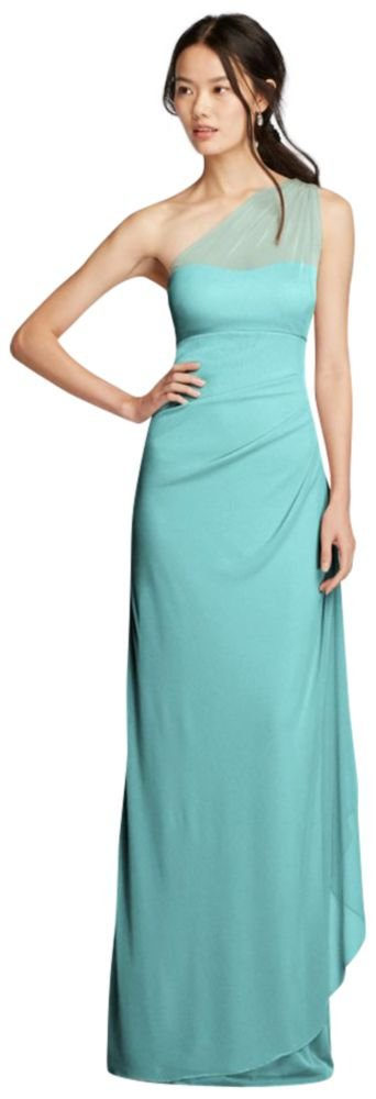 David's Bridal Long Mesh One Shoulder Illusion Bridesmaid Dress Style F19074, Spa, 20