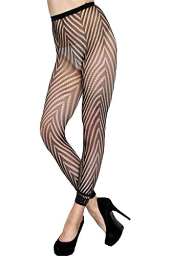 FIYOTE Women Sexy Hosiery Fashion Fishnet Footless Tights W Chevron Panthose (One size, Black)