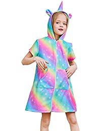 QtGirl Unicorn Cover Up for Girls Hooded Terry Cloth Cover Ups, Swimsuit Bathing Suit Cover Ups with Zipper for Kids Summer