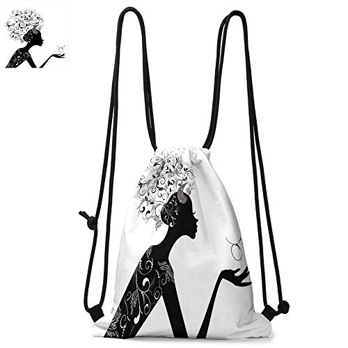 Zodiac Taurus Drawstring backpack series Fashion Girl Black Silhouette with Floral Hairdo and Dress Modern Icon Convenient choice for daily activities W17.3 x L13.4 Inch Black and White