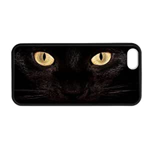 Black Cat / Kitty iPhone 5 5S Plastic and TPU Durable Phone Case Cover(Laser Technology)