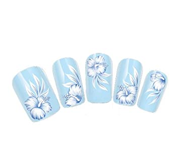 Come 2 Buy Nail Art Tatoowrap Water Transfers Decals White Blue